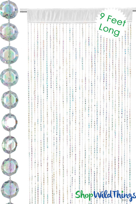 Diamonds Beaded Curtain w/Satin Rod Pocket - Crystal Iridescent Over 9'