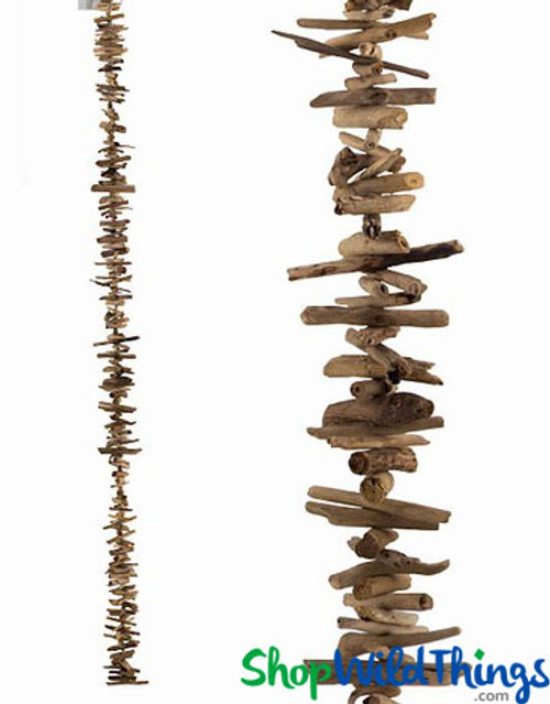 Natural and Rustic Driftwood Garland | 6Ft Decorative Garland with Large Wood Pieces | ShopWildThings.com