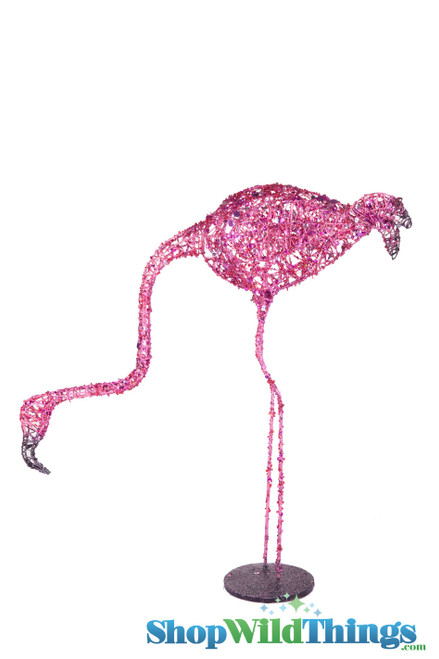 """CLEARANCE! Flamingo Prop 25"""" Glitter & Sequins - Head Looking Down"""