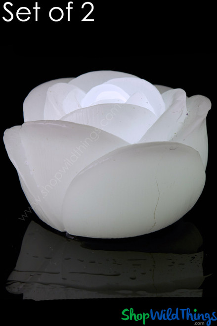 """LED Floating Rose Flickering Wax Candles, 2 3/4"""" Wide, White -  2 Per Set"""