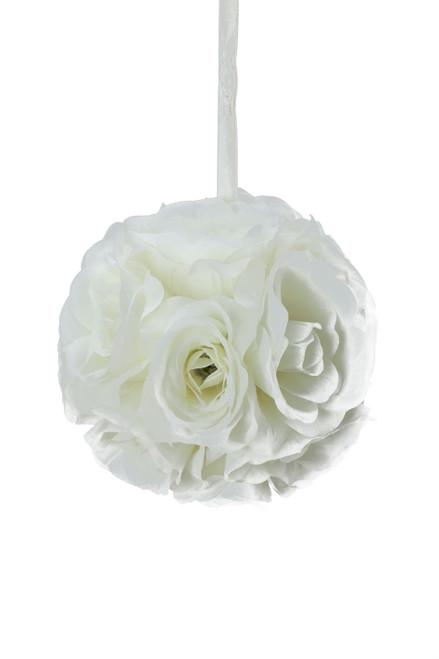 """Flower Ball - Silk Rose - Pomander Kissing Ball 6"""" - Ivory - BUY MORE, SAVE MORE!"""