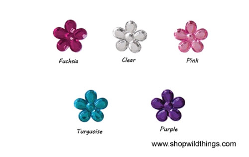 Clearance - Rhinestones - 12mm Flowers - 165pcs - 5 Colors Available