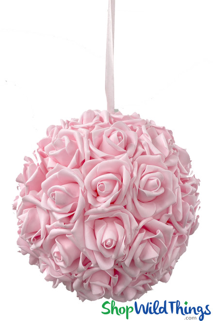 "Real Feel Flower Ball - Foam Rose - Pomander Kissing Ball - 9 1/2"" Pink - BUY MORE, SAVE MORE!"