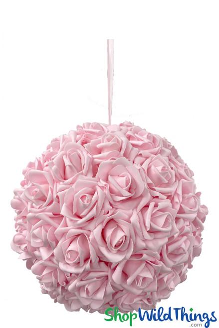 """Real Feel Flower Ball - Foam Rose - Pomander Kissing Ball - 11 1/2"""" Pink"""