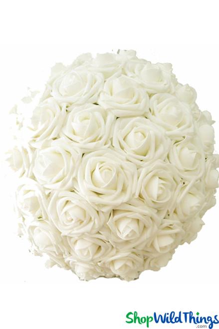 """Real Feel Flower Ball - Foam Rose - Pomander Kissing Ball - 12"""" Ivory - BUY MORE, SAVE MORE!"""