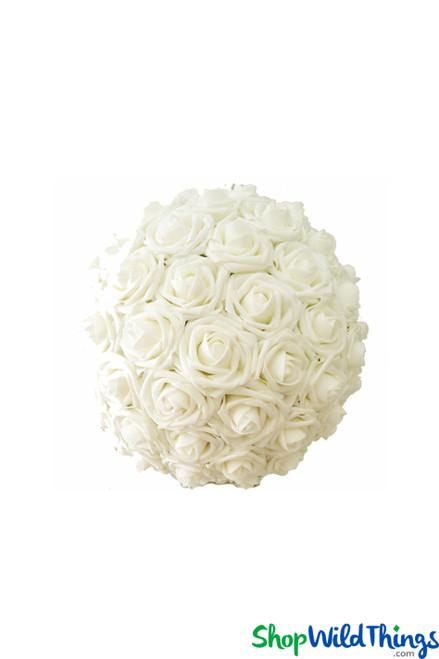 """Real Feel Flower Ball - Foam Rose - Pomander Kissing Ball - 6 1/2"""" Ivory - BUY MORE, SAVE MORE!"""