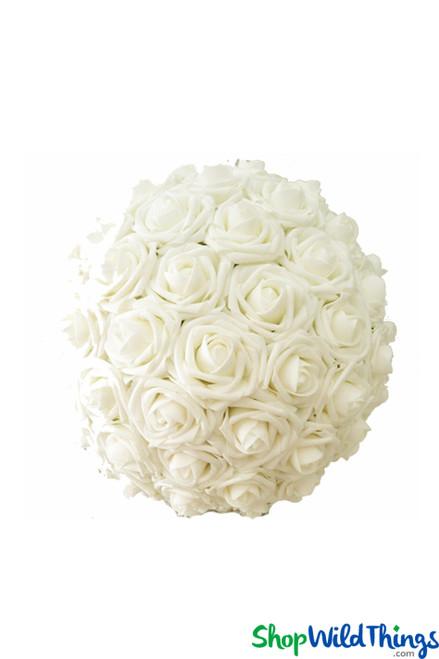 """Real Feel Flower Ball - Foam Rose - Pomander Kissing Ball - 7"""" Ivory"""