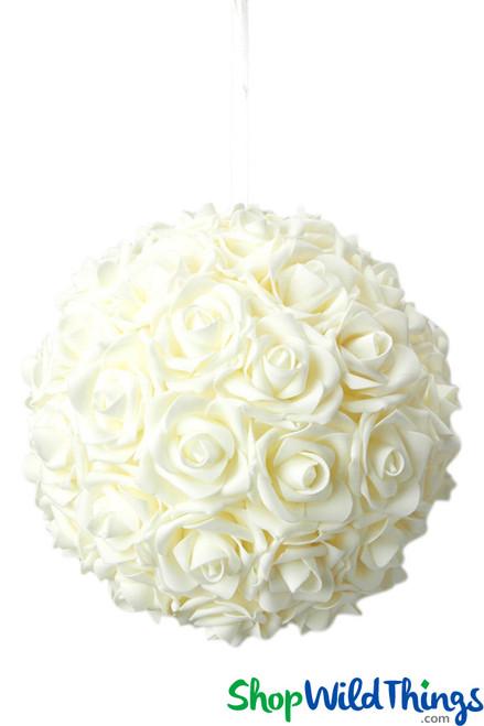 """Real Feel Flower Ball - Foam Rose - Pomander Kissing Ball - 9 1/2"""" Ivory - BUY MORE, SAVE MORE!"""