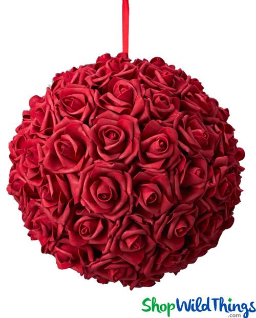 """Real Feel Flower Ball - Foam Rose - Pomander Kissing Ball - 11 1/2"""" Red - BUY MORE, SAVE MORE!"""