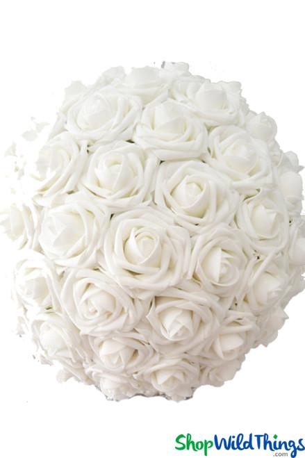 """Real Feel Flower Ball - Foam Rose - Pomander Kissing Ball - 13"""" White - BUY MORE, SAVE MORE!"""