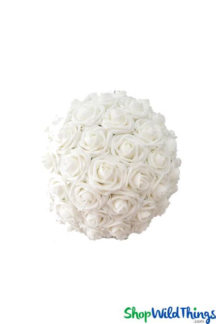 """Real Feel Flower Ball - Foam Rose - Pomander Kissing Ball - 6 1/2"""" White - BUY MORE, SAVE MORE!"""