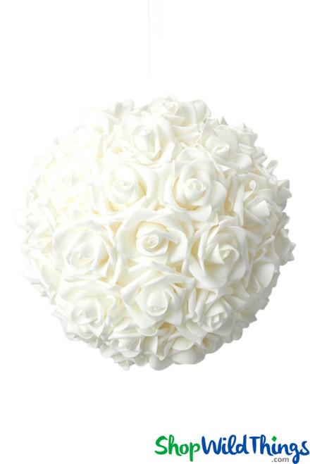 """Real Feel Flower Ball - Foam Rose - Pomander Kissing Ball - 9 1/2"""" White"""