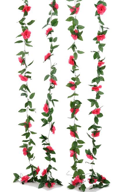 Flower Garland - Silk Rose - 8' - Fuchsia Pink - BUY MORE, SAVE MORE!