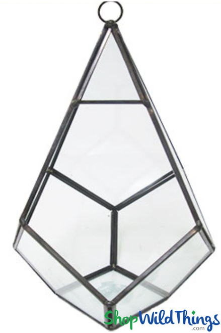 """Geometric Hanging or Tabletop Terrarium & Candle Holder - Black - 9"""" Tall Polygon"""