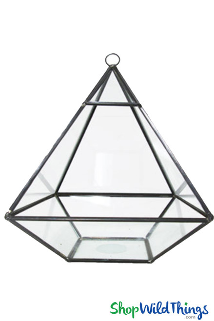 """Geometric Hanging or Tabletop Terrarium & Candle Holder - Black - 10 1/2"""" Tall Pyramid"""