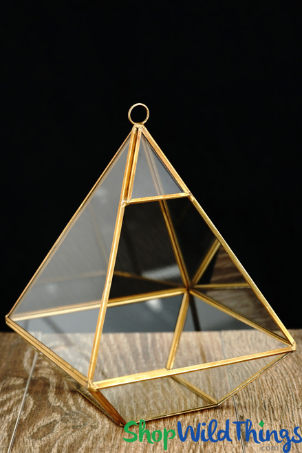 "Geometric Hanging or Tabletop Terrarium & Candle Holder - Gold - 10 1/2"" Tall Pyramid"
