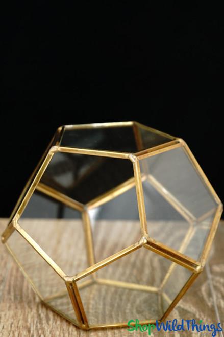 "Geometric Pentagon Terrarium & Candle Holder - Gold - 4 3/4"""