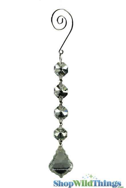 """Crystal Hanging Prism, Glass - Crystal Strand 6.5"""" - """"Fallyn"""" Set of 12 - Silver"""