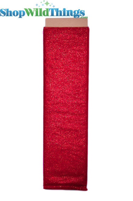"""Tulle Bolt w/Glitter, Red, 54""""x10 yds"""