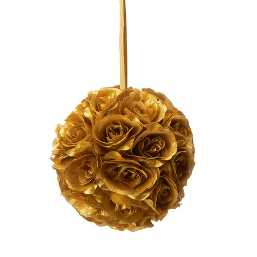 """Flower Ball - Silk Rose - Pomander Kissing Ball 8.5"""" - Gold - BUY MORE, SAVE MORE!"""