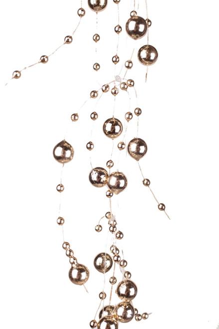 Garland, 5 Feet Long, Soft Metallic Gold Pearls, Set of 2