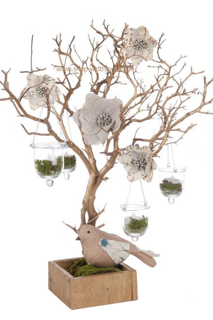 Natural Manzanita Tree in Wood Base - Matte Metallic Gold - 2 Feet Tall