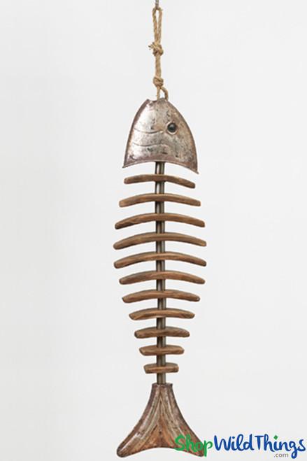 "SALE ! Antique Bronze & Wood Hanging Fishbone - 31 1/2"""