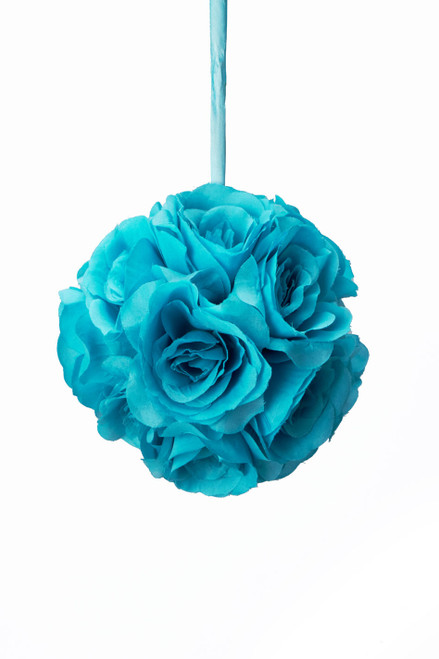 "Flower Ball - Silk Rose - Pomander Kissing Ball 6"" - Turquoise - BUY MORE, SAVE MORE!"
