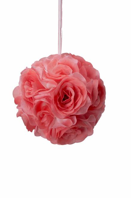 "Flower Ball - Silk Rose - Pomander Kissing Ball 6"" - Coral - BUY MORE, SAVE MORE!"