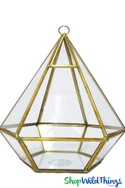 """Geometric Hanging or Tabletop Terrarium & Candle Holder - Gold - 8"""" Tall Hexagon"""