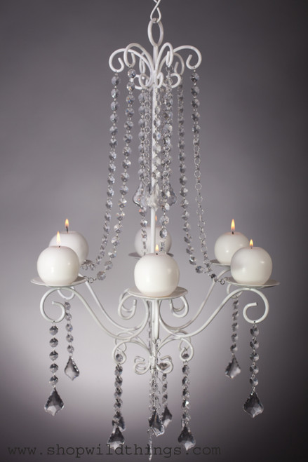 """Chandelier """"Hayden"""" White Crystal - 16.7"""" x 28"""" - 6 Candle Plates"""