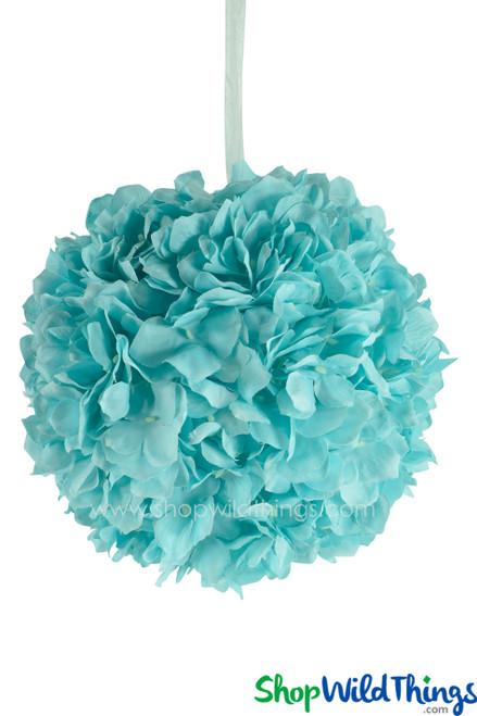 "Flower Ball - Silk Hydrangea - Pomander Kissing Ball 10"" - Aqua"