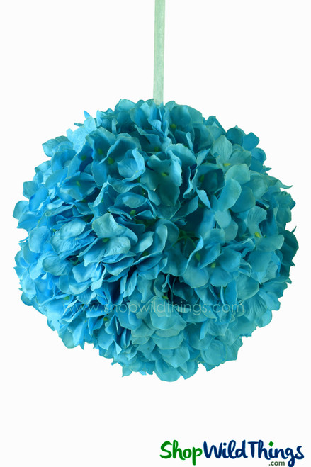 "Flower Ball - Silk Hydrangea - Pomander Kissing Ball 10"" - Turquoise"