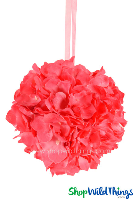 "Flower Ball - Silk Hydrangea - Pomander Kissing Ball 6"" - Pinky/Coral"