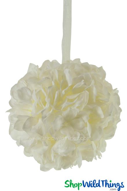 "Flower Ball - Silk Hydrangea - Pomander Kissing Ball 6"" - Ivory"