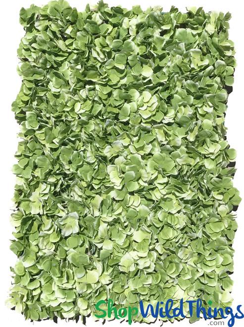 "Flower Wall 17"" x 25"" Silk Hydrangeas - Green"