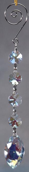 """Crystal Hanging Prism, Glass - Crystal Strand 6.5"""" - """"Elizabeth"""" Set of 12 - Iridescent"""