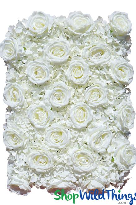"Flower Wall 19"" x 25 1/2"" Premium Silk Roses & Hydrangeas - Cream"