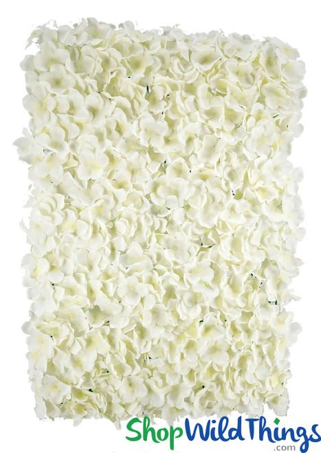 "Flower Wall 18"" X 26"" Premium Silk Hydrangeas - Cream"