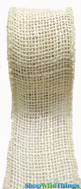 """Jute Natural Fabric Roll Ivory 1.5""""x10yd  - High Quality Open Weave"""