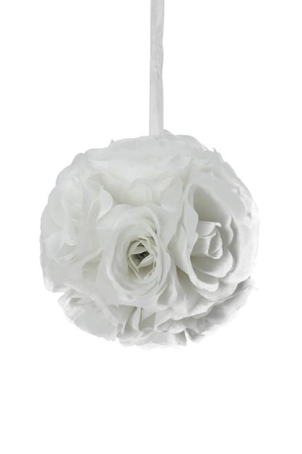"""Flower Ball - Silk Rose - Pomander Kissing Ball 4.5"""" - White - BUY MORE, SAVE MORE!"""