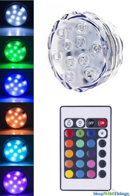"""(see item #144119) LED Colored Disc w/Remote -  Submersible -  2.50"""" RGB"""