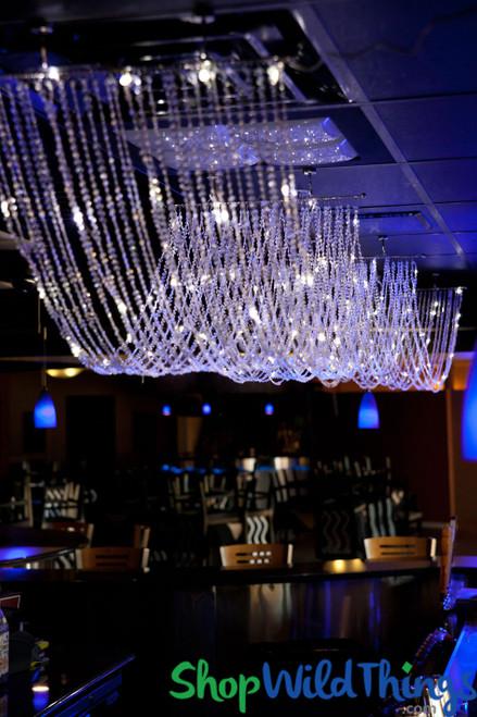Diamonds Non-Iridescent LED Ceiling Drape & Canopy - Pure White - 15 Feet Long - PREMIUM QUALITY BEADS!