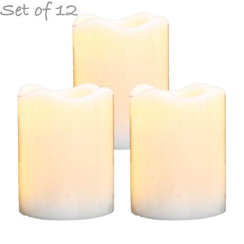 "LED Flameless Wax Pillar Candles - Ivory - Set of 12 - 3 1/2"" Tall"