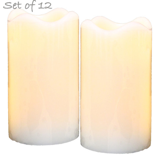 "LED Flameless Wax Pillar Candles - Ivory - Set of 12 - 5"" Tall"