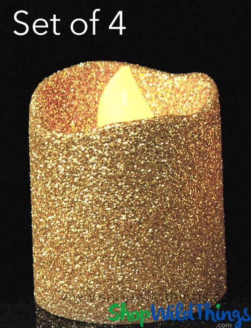 "LED Flameless Votive Candles - Gold Glitter - Set of 4 - 1 1/2"""