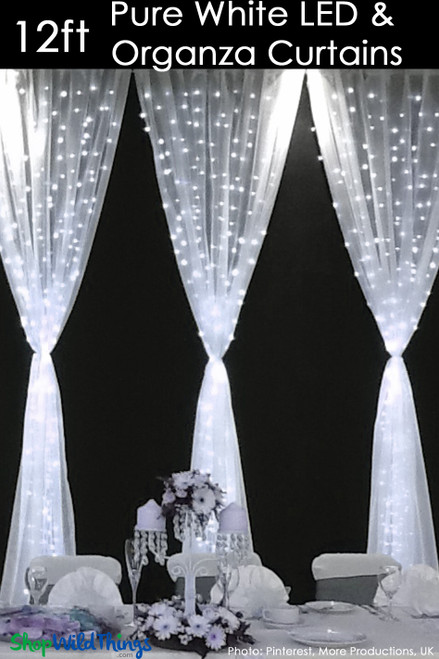 LED Organza Curtain - 288 Lights - 3' x 12' - Pure White (Fabric Included)