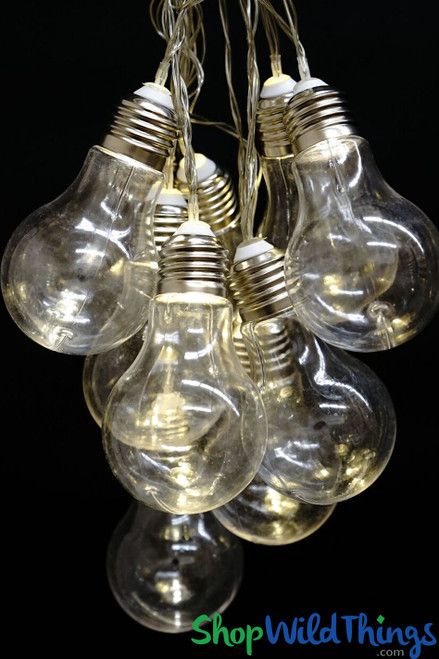 SALE ! Light Bulb String Lights 10' - 10 Warm White /Cool White Mix Lights - Battery Operated - LED