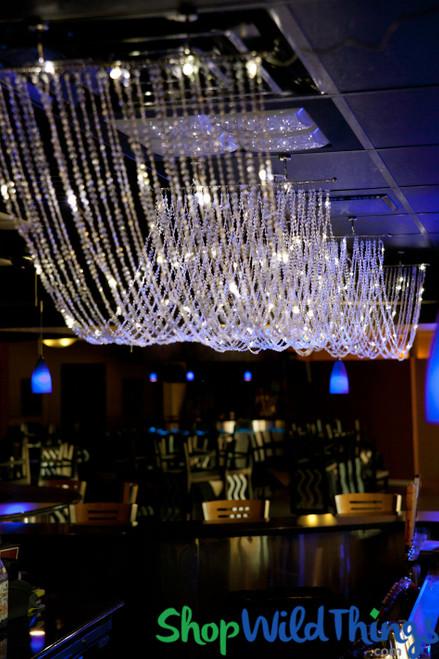 Diamonds Non-Iridescent LED Ceiling Drape & Canopy - Warm White - 15 Feet Long - PREMIUM QUALITY BEADS!