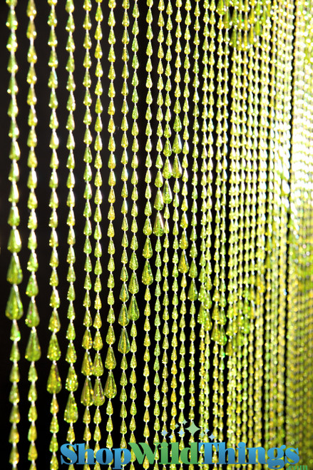 Raindrops Beaded Curtain - Lime Green Iridescent - 3 ft x 6 ft